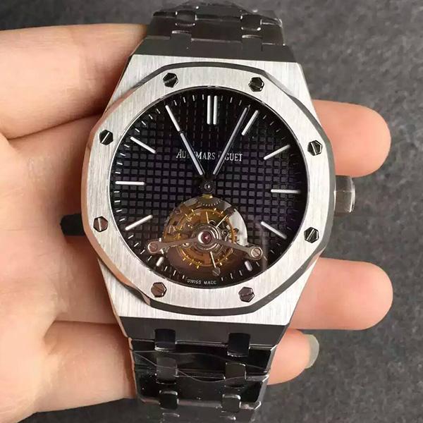 【TF厂一比一】爱彼AP皇家橡树系列黑面一比一精仿男士陀飞轮手表