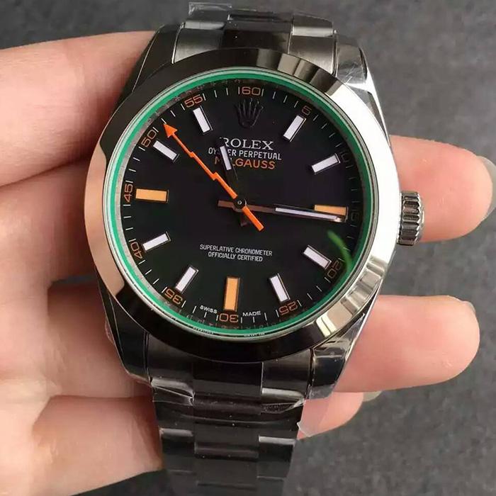 【JF厂超A】劳力士(Rolex)MILGAUSS系列116400-GV-72400闪电绿玻璃黑面自动机械一比一精仿男表