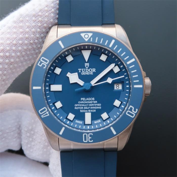 帝舵(Tudor)/帝陀/帝驼V6版PELAGOS系列25600TB蓝色战斧男士自动机械精仿手表【胶带】