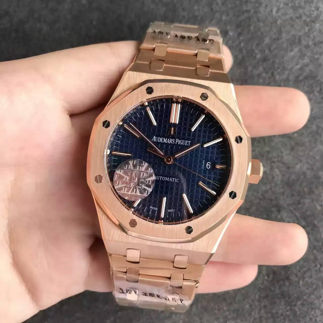 【JF厂】爱彼AP皇家橡树系列15400全玫金蓝面钢带版精仿手表