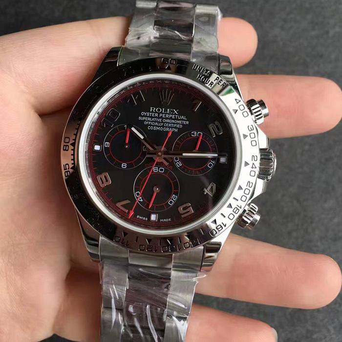 【JF厂最好版本】劳力士(Rolex)迪通拿系列黑面红针自动机械精仿男表